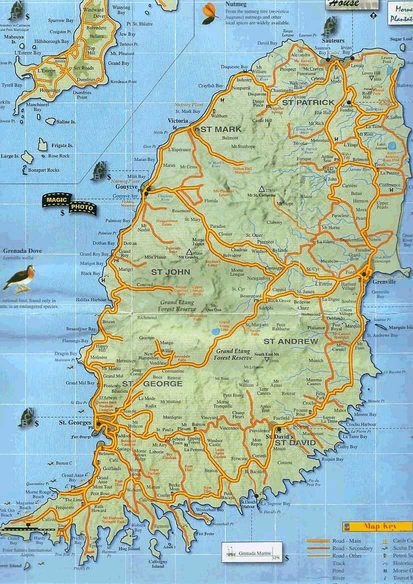 Grenada Island Road Map Grenada Mappery Grenada Island Road Map - Grenada map download