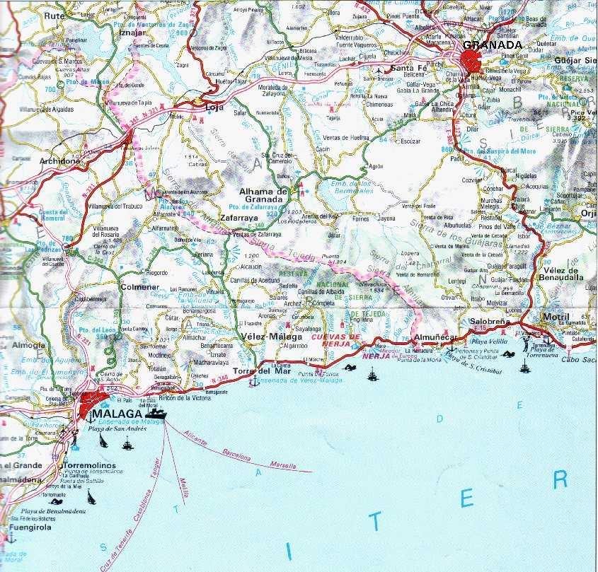 Malaga Spagna Cartina.Andalucia