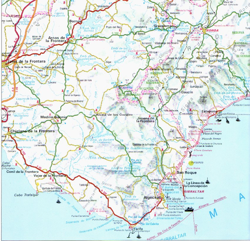 Cartina Jerez De La Frontera.Andalucia